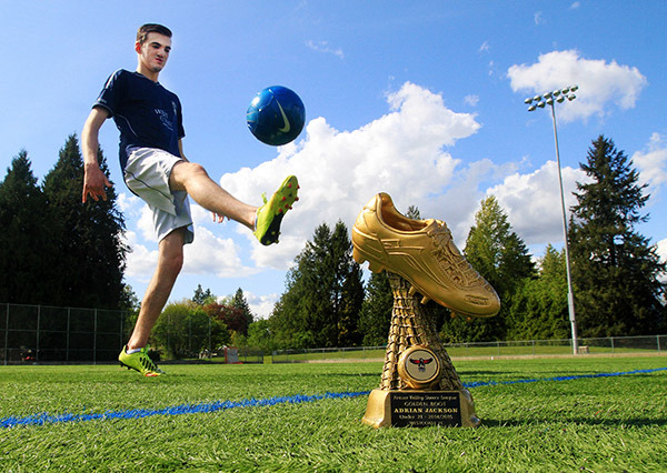 Adrian Jackson earned the Golden Boot award for scoring the most goals in U-21 soccer this season.— Image Credit: Tim Fitzgerald